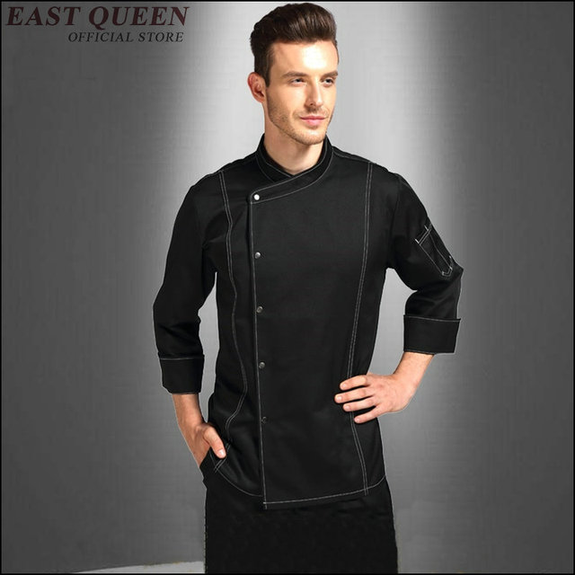 chef uniformed jackets mens restaurant waiter uniform Kitchen Cooking Work Wear men Hotel Waiter clothing solid color AA3495 a