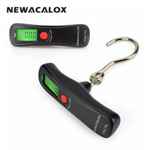 NEWACALOX 50kg x 10g Mini Portable Electronic Scale Weight Luggage Scale Digital Travel Hanging Hook Scale