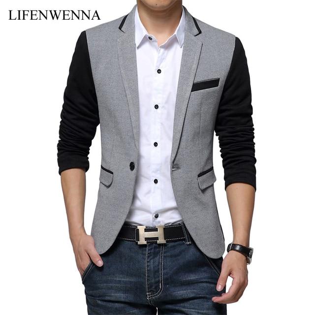 2017 nueva slim fit chaqueta para hombre casual algodón