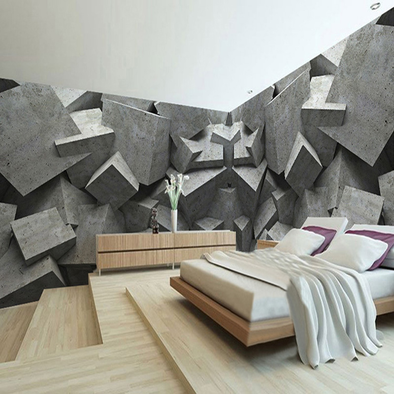 custom any size 3d wall mural wallpaper concrete brick art panel mural de parede 3d modern. Black Bedroom Furniture Sets. Home Design Ideas