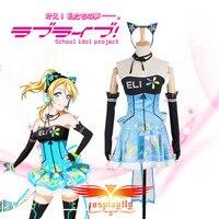 Love Live! Eli Ayase Video Games Awakening Cosplay Costume Custom Adult Women Sleeveless Blue Satin Dress Stockings Hairband