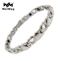 RainSo Fashion Heart Germanium Bracelets Bangle Chain For Women Healing Magnetic Bracelet Health Hologram Wristbands Jewelry