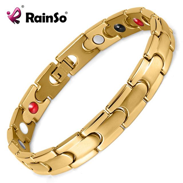 Rainso pulceras salud curación imán pulseras y brazaletes para los hombres chapados en oro titanium magnética pulseras otb-028gfir