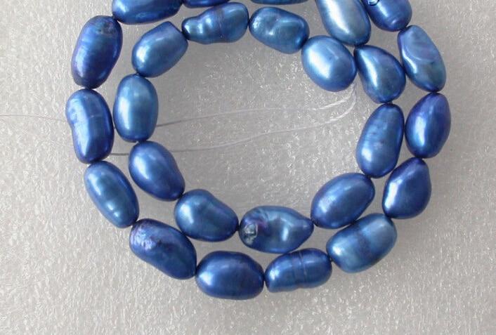 06463 оптовая продажа 5 шт синий барокко пресноводный жемчуг ожерелье свободные бусы