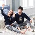 Big Promoção!! Moda Outono/Casais Matching Pijama Roupa Em Casa Terno Dos Homens/Mulheres Sherpa Pijamas de Manga Longa dos homens do Algodão