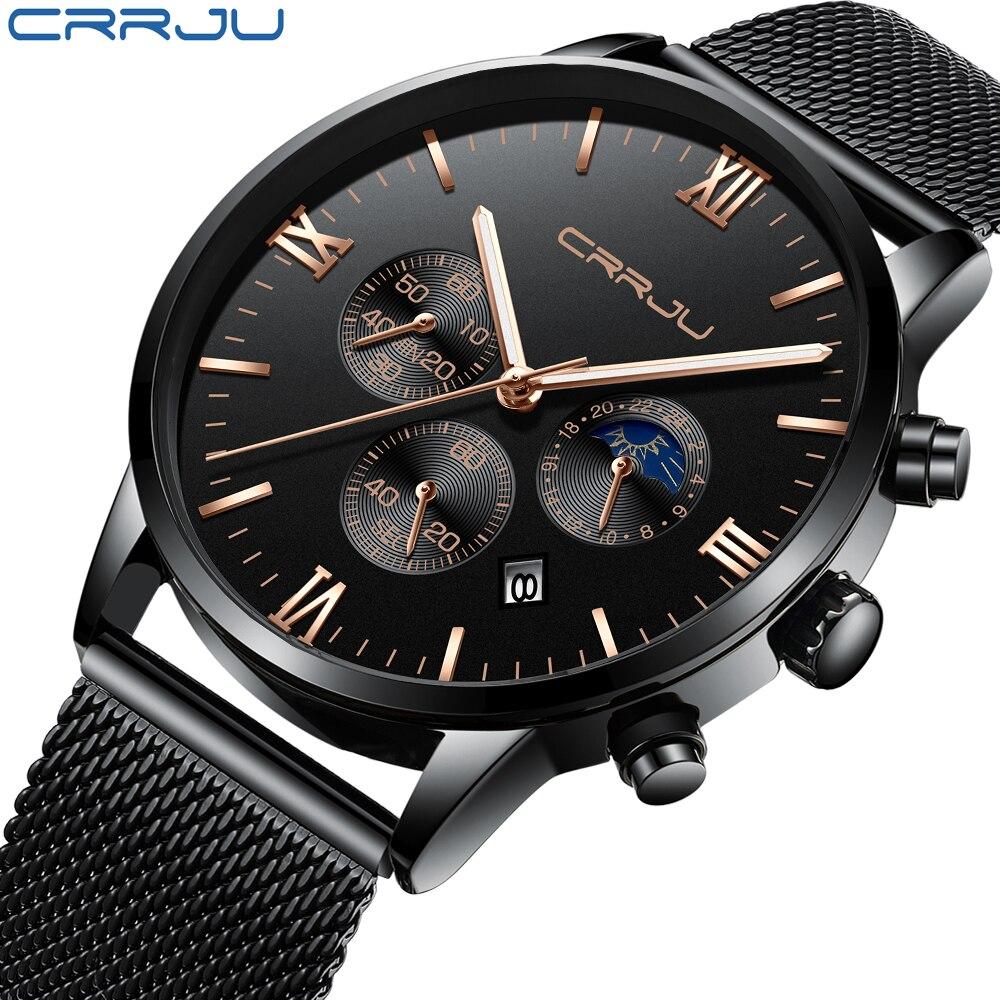Herren Uhren 24 Stunden Und Chronograph Quarz Armbanduhr Für Männer CRRJU Casual Stahl Mesh Uhr Männlich Reloj Hombres Geschenk uhr
