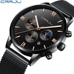 Mens Watches 24 Hours And Chronograph Quartz Wrist Watch For Men CRRJU Casual Steel Mesh Watch Male Reloj Hombres Gift Clock