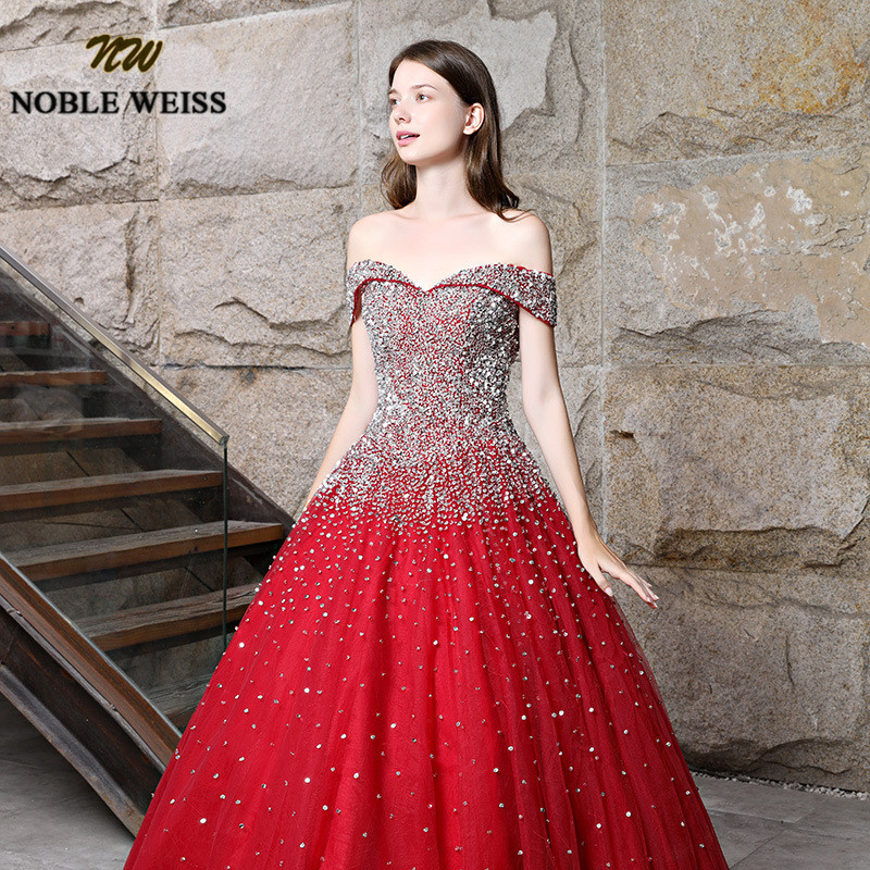 prom dresses red long ball gown prom dress heavy beaded lace-up women prom gown sleeveless tulle evening gowns puffy dress 5