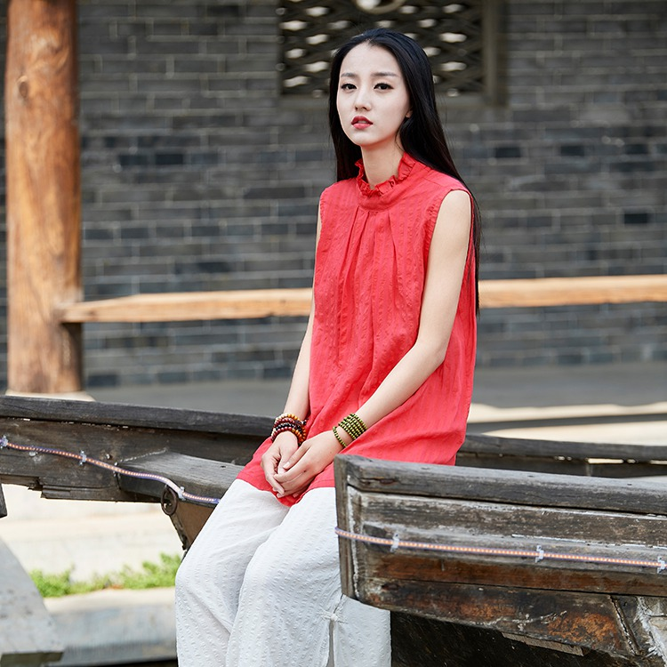 ORIGOODS Chinese style Sleeveless Women Blouse Shirt Cotton Vintage Casual Summer Shirts Cute Kawaii Women Tops and Blouses B212