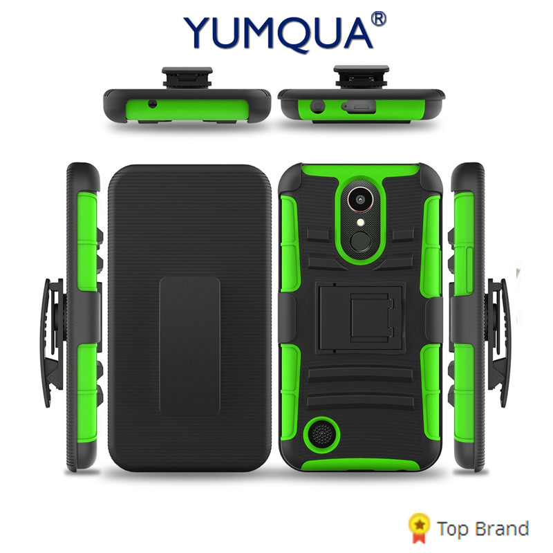YUMQUA K10 Cover Case For LG LV5 K20 Plus/K20V Back Case Hybrid Defender Stand Phone Case with Belt Clip For lg k10 (2017) M250