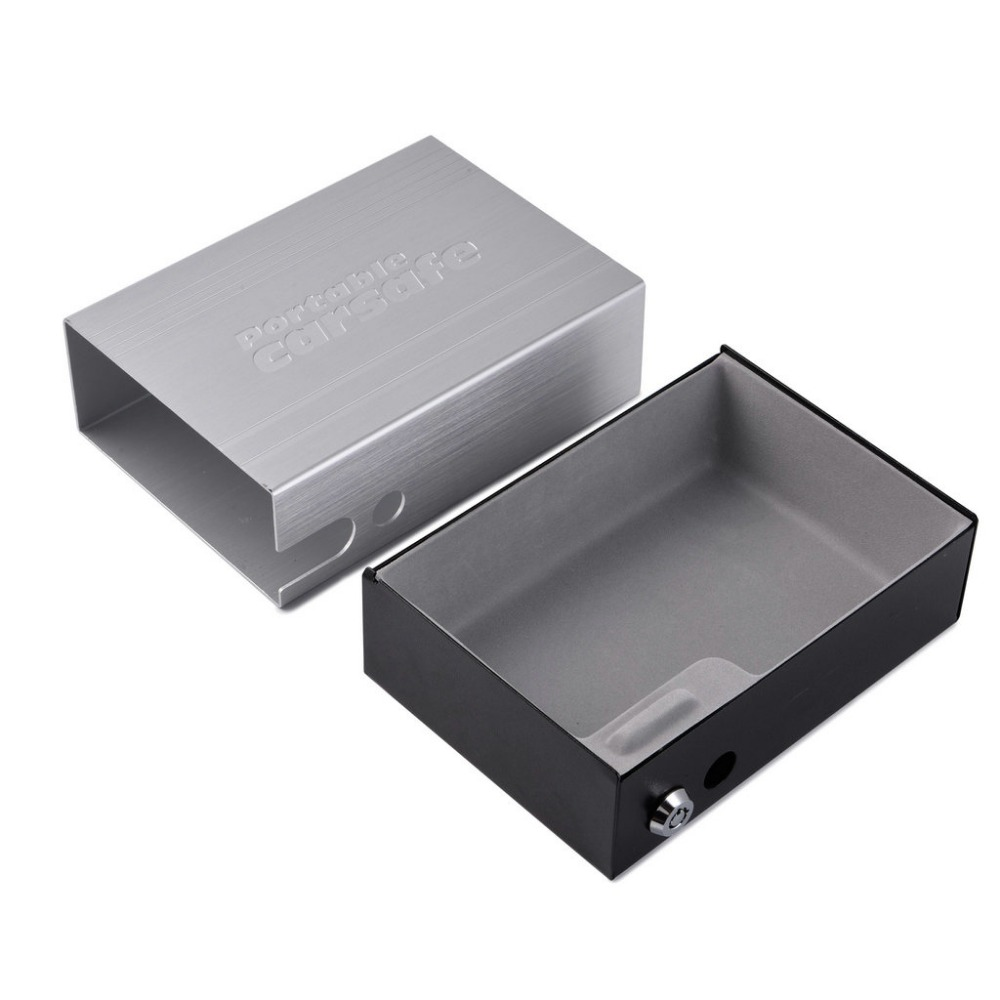 Car Safes Portable Safe Box Key Lock Safes Jewelry Cash Pistol Storage Box Gunsafe Aluminum Alloy Security Strongbox Cable Fixed