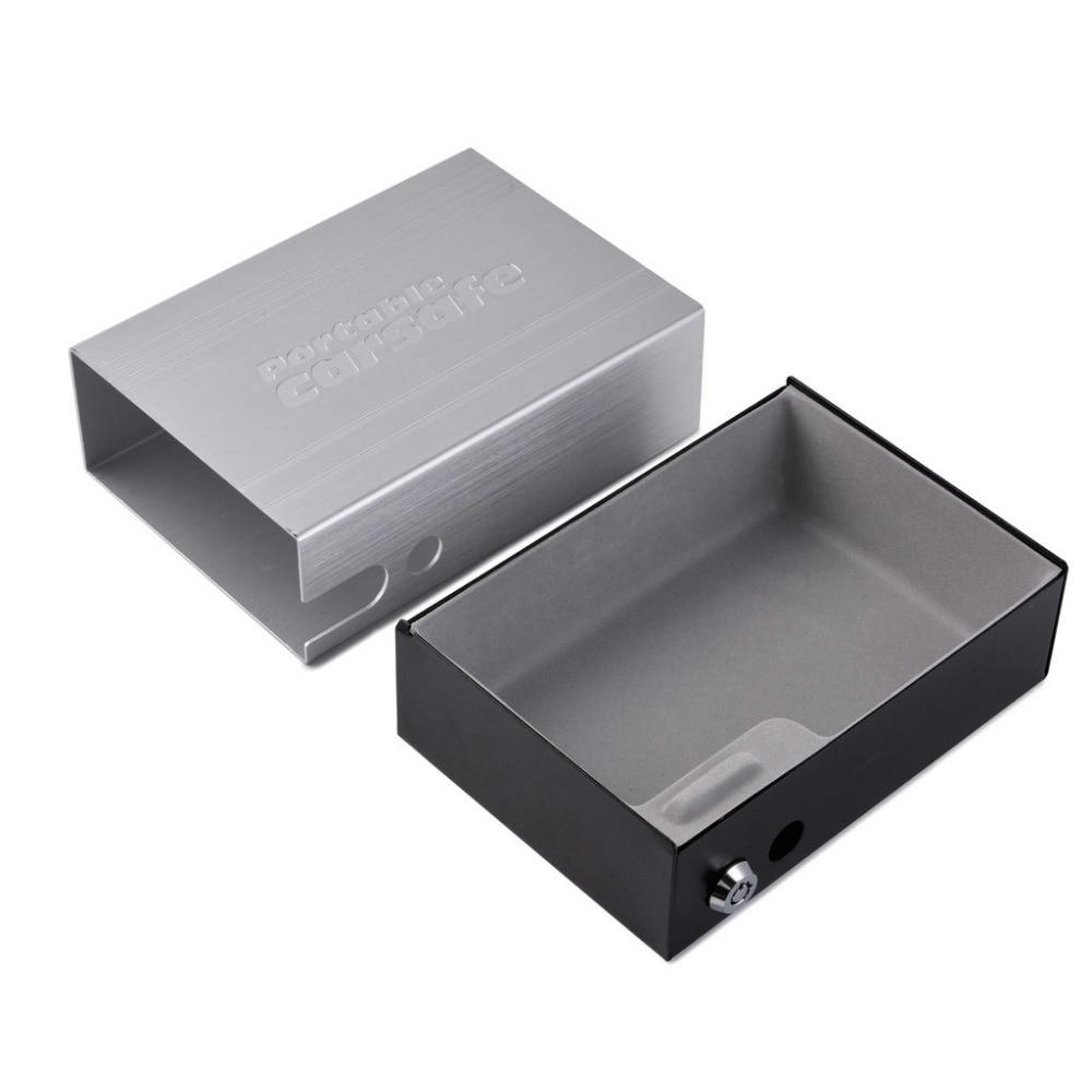 Car Safes Portable Safe Box Key Lock Safes Jewelry Cash Pistol Storage Box Gunsafe Aluminum Alloy Security Strongbox Cable Fixed