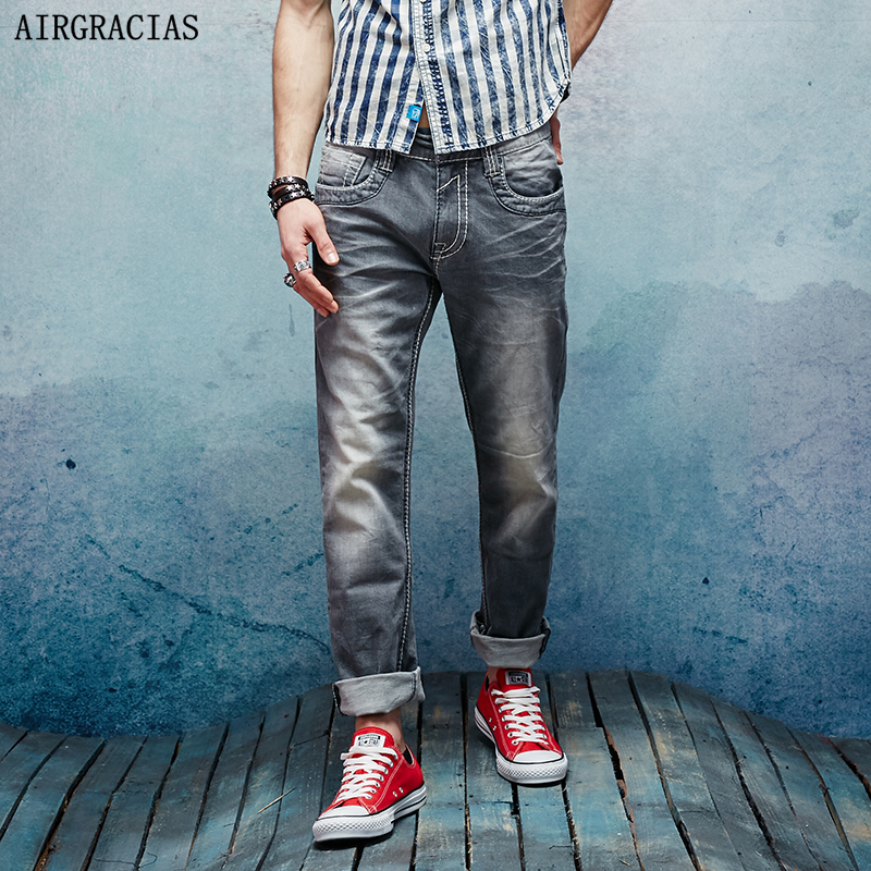 AIRGRACIAS Brand Jeans Retro Nostalgia Straight Denim Jeans Men Plus Size 28-38 Casual Men Long Pants Trousers Biker Jean xmy3dwx n ew blue jeans men straight denim jeans trousers plus size 28 38 high quality cotton brand male leisure jean pants