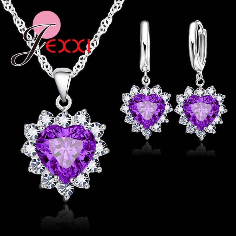 Echt 925 Sterling Silber Romantische Trendy Herz Zirkonia Halskette Anhänger Ohrringe Set Für Frauen Weibliche Schmuck Geschenk
