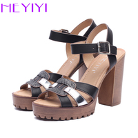 HEYIYI Sandals Shoes For Woman Platform High Heels Ankle Strap Comfortable Soft Insole Thick Heels 11cm