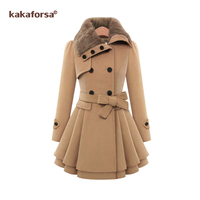 Kakaforsa New Turn down collar Blends coat Casual long women winter coat Winter Style Elegant warm outwear overcoat female