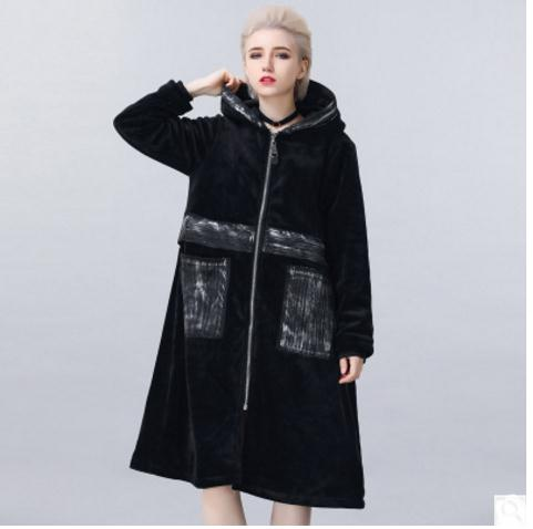 Long Section Womens Plus Velvet Winter Autumn Cotton Padded Jackets Casual Hooded Parkas Free Size Female Overcoats Outwear K508 значок pyromaniac big skull black white