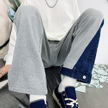 2019 Casual and loose denim splicing men's trousers spring straight tube Korean version of the trend personality pants