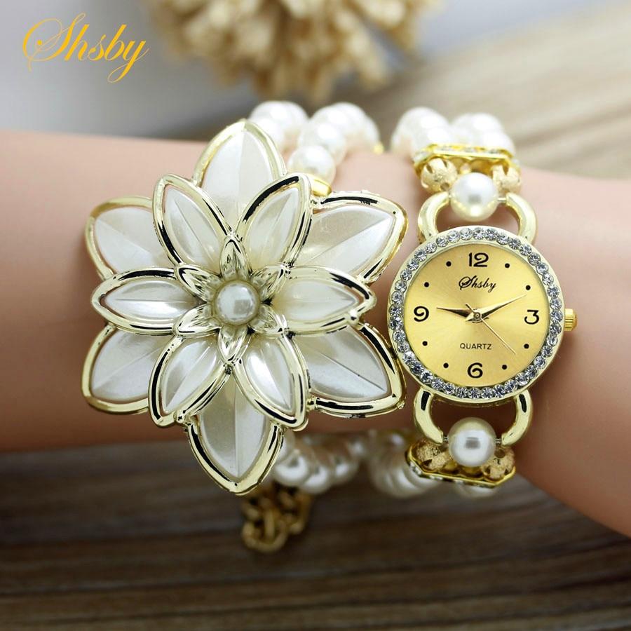 Shsby moda Kadınlar Rhinestone Saatler Bayanlar inci kayış Birçok - Kadın Saatler - Fotoğraf 4