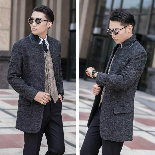 Stand collar A buckle suit wool coat mens trench coats slim fashion casual coat men overcoat
