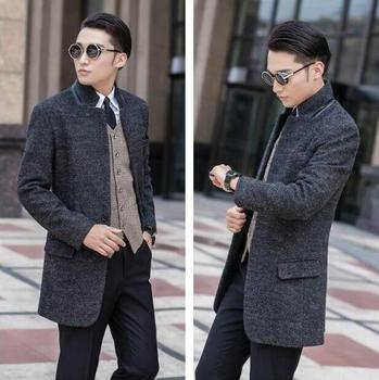 Stand collar A buckle suit wool coat mens trench coats slim fashion casual coat men overcoat jaqueta masculina plus size S – 9XL