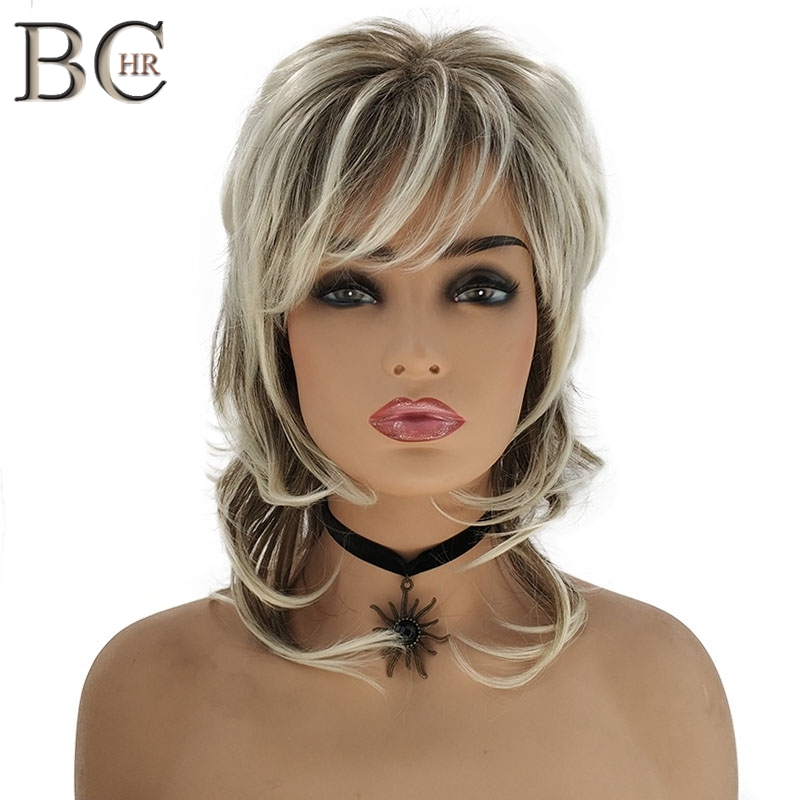 BCHR Medium Length Ombre Blonde Wig With Dark Root Synthetic Wig For Women Cascaded Layers Wig