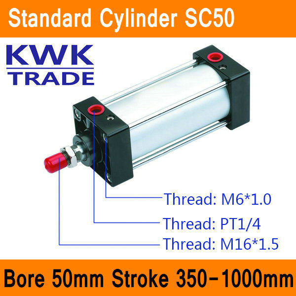 SC50 Standard Air Cylinders Valve CE ISO Bore 50mm Strock 350mm to 1000mm Stroke Single Rod