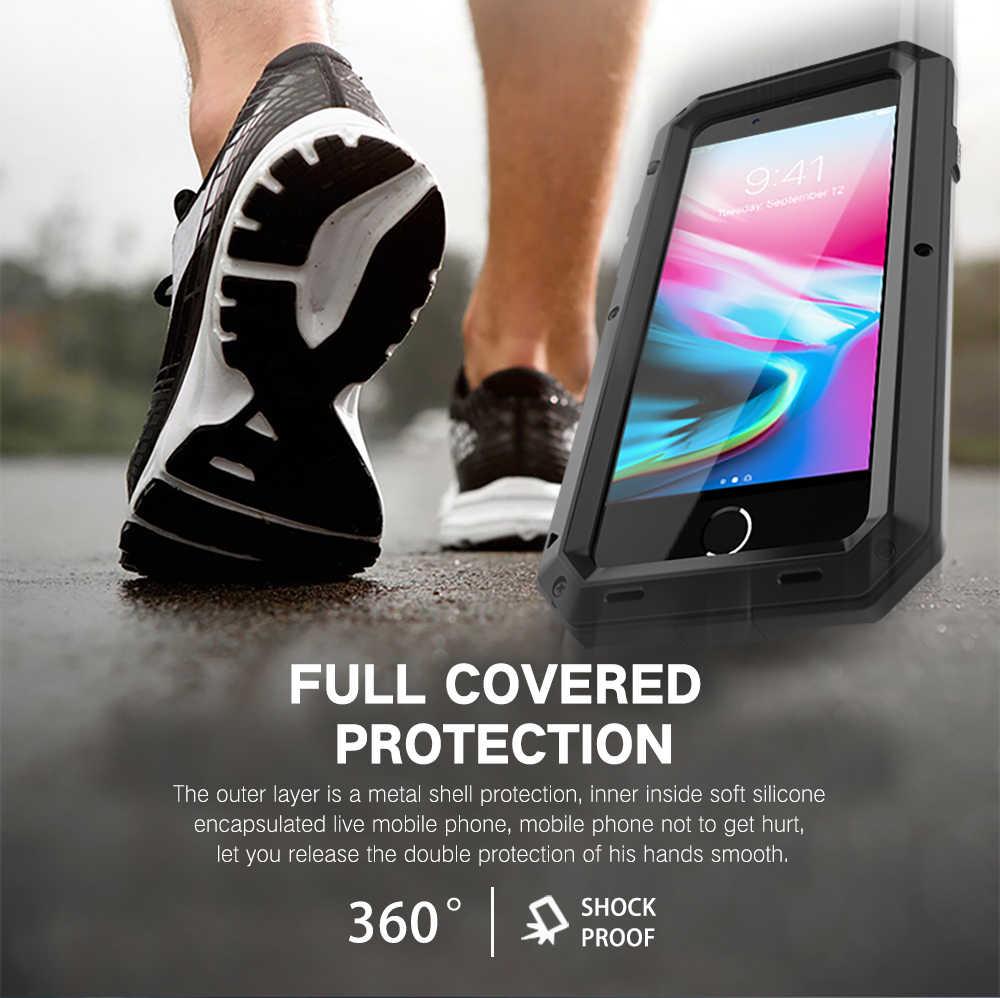 الثقيلة واجب حماية الموت درع معدن الألمنيوم حالة الهاتف ل فون 11 برو XS ماكس SE 2 XR 6 6S 7 8 زائد X 5S للصدمات غطاء