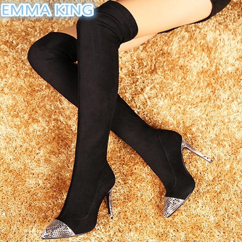 Mode Bottes Chaussures Longues Genou Dames Pointu Bout Mixed Métal Automne Sur Patchwork Colors Stilettos Argent Printemps Conception Femmes Le 2019 n4vqvBgY