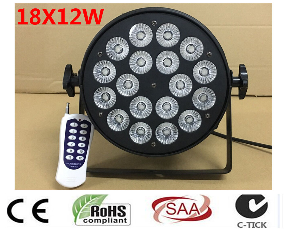 18x12 W telecomando Senza Fili della luce dmx rgbw led par luce DJ Par Lattine di Alluminio Shellt 8 pz/lotto 6 pz led par luce 18x12 w flightcase rgbw 4in1 led di lusso dmx led flat par luci dj