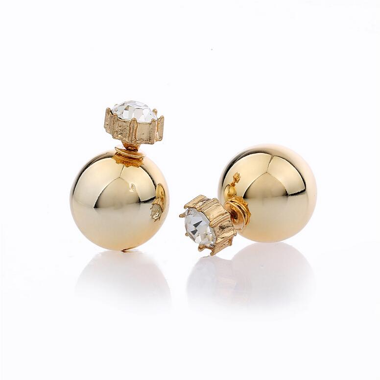 Stud Earrings ear rings Fashion for women Girls lady doule shiny ball white golden good quality