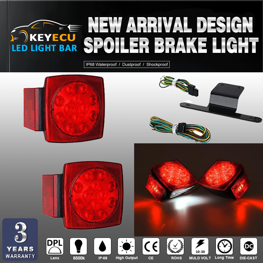 KEYECU Pair Red LED Submersible SQ Trailer Lights Kit Under 80 Stop License Tail Brake/Spoiler Brake Light /License Plate Light motorcycle tail tidy fender eliminator registration license plate holder bracket led light for ducati panigale 899 free shipping