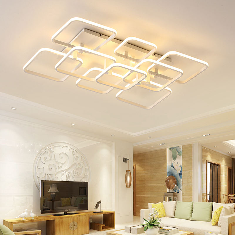 Square Rings LED Ceiling Lights For Living Room Bedroom AC85-265V Modern Led Ceiling Lamp Fixtures lampara techo japanese bedroom ceiling lights led modern tatami decor contemporary large square lamp lantern ceiling lights living room