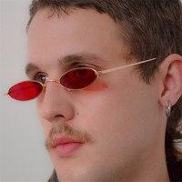 OLOEY Skinny Oval Sunglasses Women Vintage Small Sun Glassses Men Metal Frame Tiny Oval Sunglass UV400