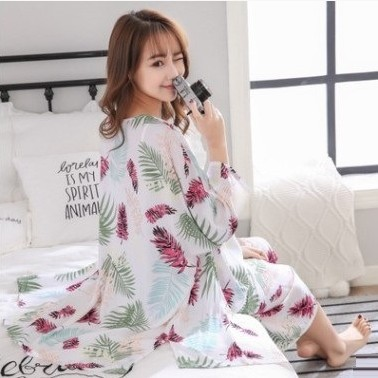 Ladies' leisure cotton silk Nightgown 3pcs set comfortable and breathable suspenders women's pajamas sweet Robe Sleepwear