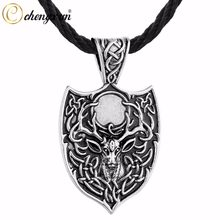 CHENGXUN New Vintage Men Necklace Animal Goat Horn Infinite Knot Pendant Large Shield Punk Collar Necklace for Gift(China)