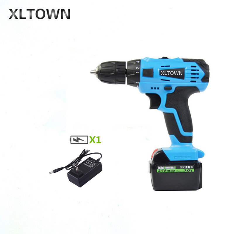 цена на XLTOWN 21v Electric Screwdriver Multifunction Rechargeable Lithium Drill Electric Household Cordless Electric Drill Power Tools