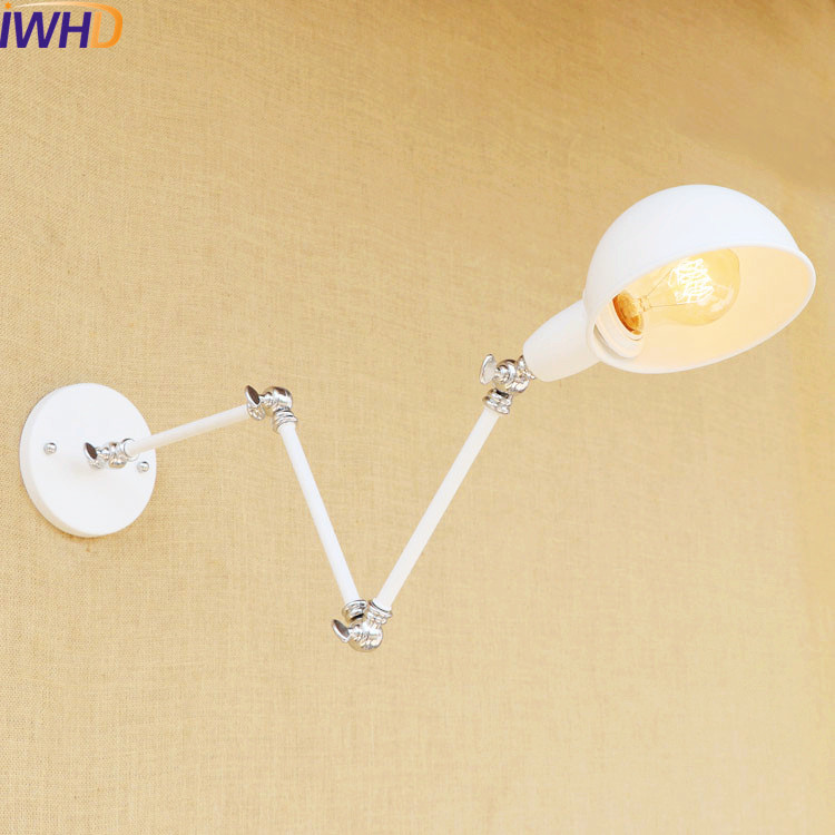 IWHD White Gold 3 Swing Long Arm Wall Light Fixtures Retro Loft Industrial Vintage Wall Lamp Sconce Appliques Lamparas De Pared glass loft industrial vintage wall light fixtures adjustable swing long arm wall lamp led retro sconce appliques lampara pared