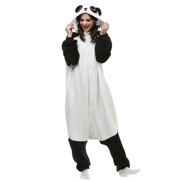 polar fleece china panda kostum cartoon tier onesie pyjama halloween karneval maskerade partei overall kleidung