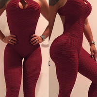 Missufe Sexy Slim Female Jumpsuit Cross Strap Backelss Fitness Bodysuits Women 2018 New 7 Colors Hollow Out Overalls Jumpsuits