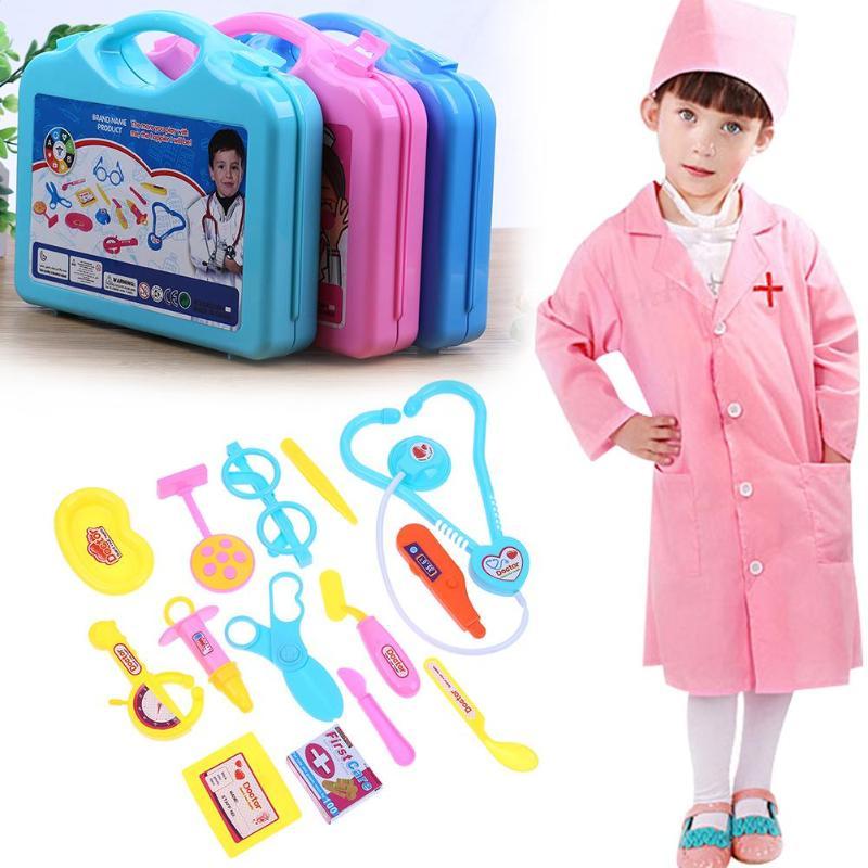 15 Pieces/Set Children Pretend Play Doctor Nurse Toy Set Portable Suitcase Medical Kit Kids Educational Role Play Classic Toys