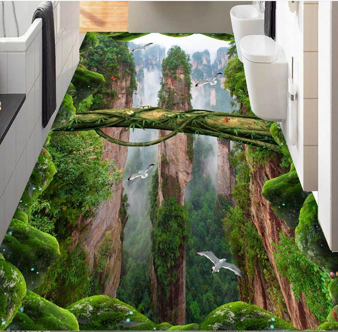 3d mural wallpaper 3d floor Forest valley peaks waterproof wallpaper for bathrooms 3d floor murals wall paper rolls