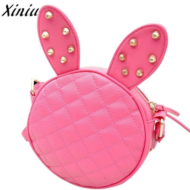 ea63c127eb3f Women Shoulder Bag Cute Rabbit Ear Leather Circular Handbag Girl Rivet  Fashion Messenger Bag Carteras Mujer