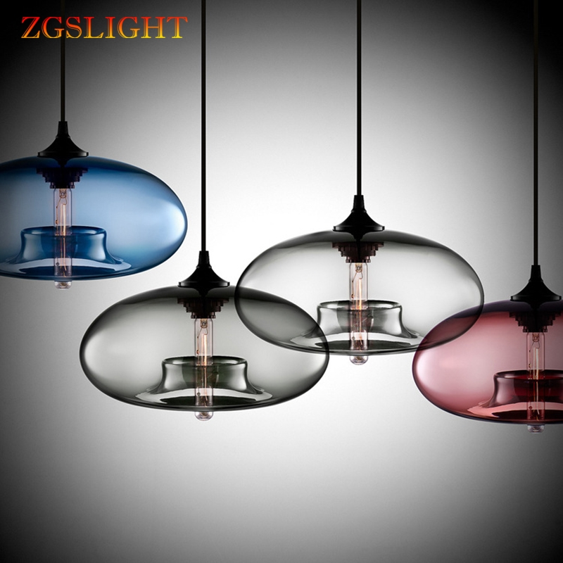 Nordic Modern Hanging Lights Loft 7 Color Glass Lustre Pendant Lamp Industrial Decor Lights Fixtures E27 For Kitchen Restaurant
