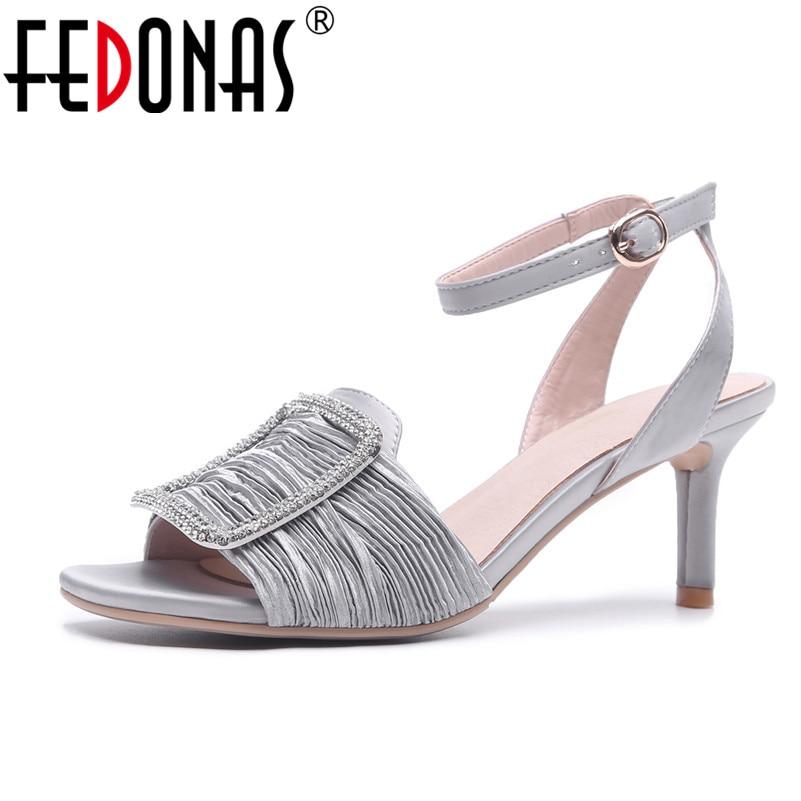 FEDONAS Women Sandals Thin High Heels Footwear 2018 New Rhinestone Wedding Party Shoes Woman Ladies Ankle Strap Summer Sandals brand new strap high heels sandals women sandals with platform footwear woman evening shoes women sexy ladies shoes