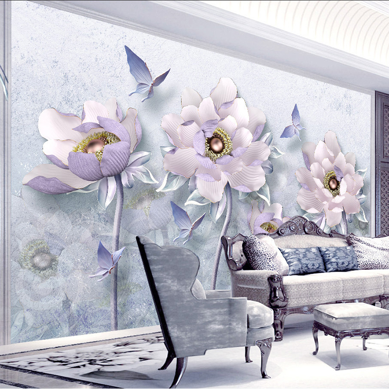Custom Any Size Murals Wallpaper 3D Stereo Relief Flowers Retro European Style Jewelry Wall Cloth Living Room TV Background Wall