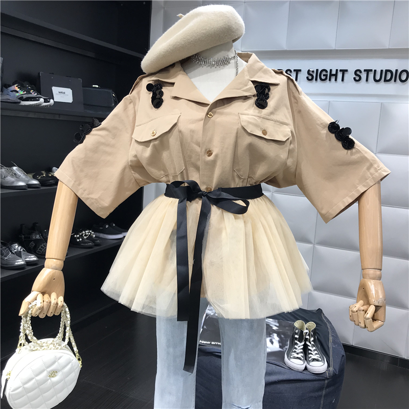 2019 Women Two Piece Outfits Sequined Embroidery Half Sleeve Khaki Jacket Blouse + Lace-up Patchwork Tulle Tutu Mesh Skirt Set