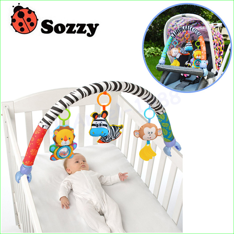 1 unids sozzy bebé colgantes azul bebé elefante y conejo Rosa bebé juguete de la música cama y cochecito juguete sonajero