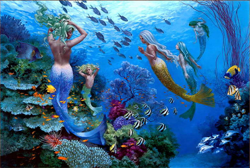 Little Mermaid Home Decor Part - 22: Home Art Wall Decor Little Mermaid Oil Painting Picture Printed On Canvas Home  Decoration