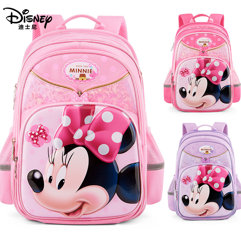 Disney 3D Minnie Waterproof Orthopedic New High Quality School Book Backpack Cartoon Kids Large Capacity Primary Girls Bag